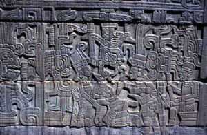 A Maya mural found in El Tajin, showing the sacrifice of a ballplayer.