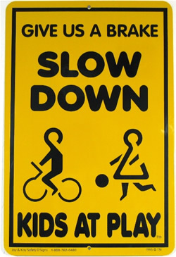 kids at play yellow sign